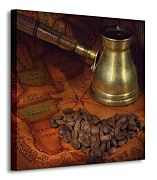 Coffee in a turk, grains and map - Obraz CKS0572