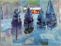 Red House and Spruces Obraz Munch zs16676