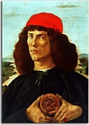 Sandro Botticelli reprodukcie - Portrait of a Man with the Medal of Cosimo zs17300