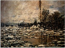 Breakup of Ice, Lavacourt, Grey Weather Reprodukcia Claude Monet zs17712