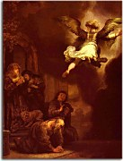 The Archangel Raphael Taking Leave of the Tobit Family - Reprodukcia Rembrandt - zs18034