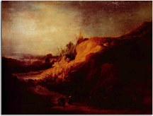 Landscape with the baptism of the treasurer - Reprodukcia Rembrandt - zs18050